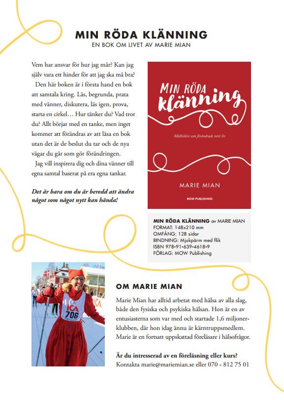 Flyer om boken Min röda klänning av Marie Mian