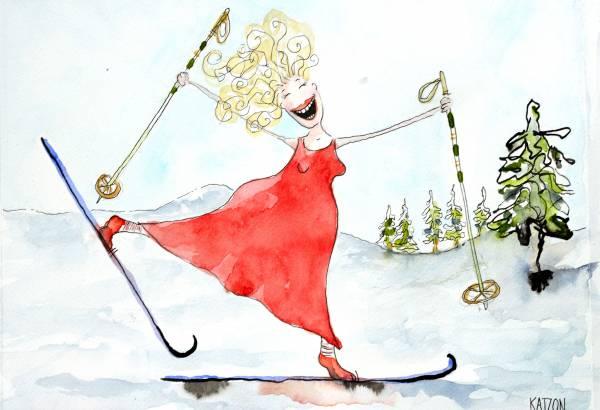 Akvarell - Glad skidåkare i röd klänning